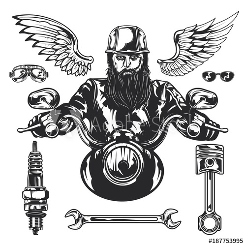 500x500 Set Of Motorcycle Theme Elements With Rider On Motorcycle, Engine