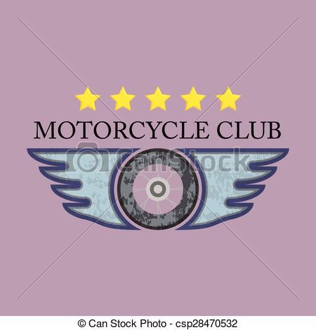 450x470 Retro Motorcycle Club Logo Vector. Vector Eps10. Retro Motorcycle