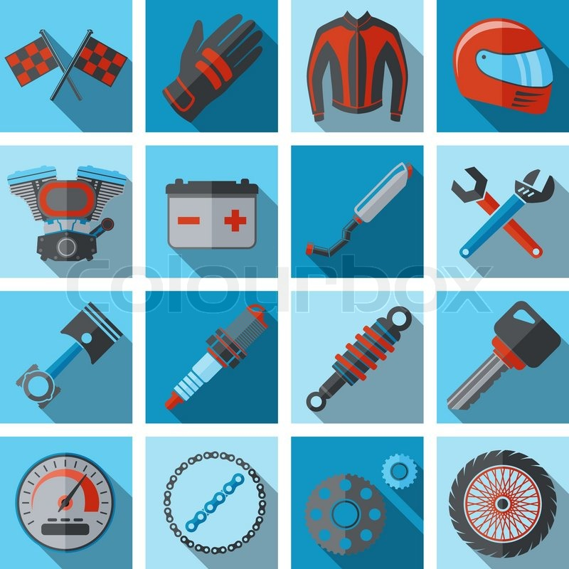 800x800 Motorcycle Parts Flat Icon Set With Vehicle Engine Key Spanner