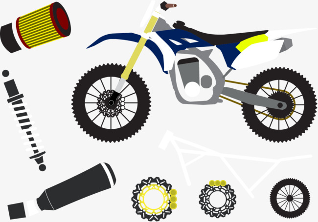 650x455 Vector Motorcycle Parts, Motorcycle Parts, Yellow, Blue Png And
