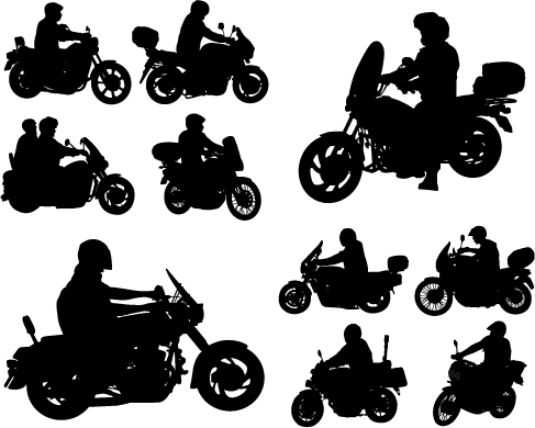 487x390 Motorcycle Riders With Motorcycle Silhouettes Vector Set 01 Free