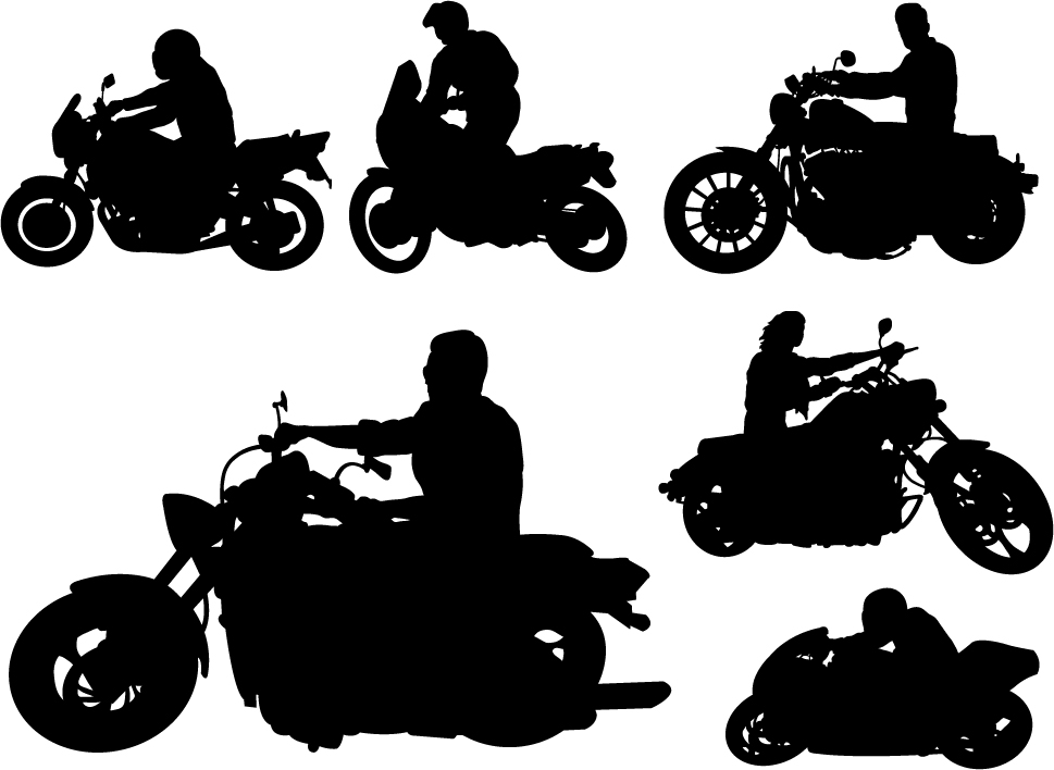 969x708 Motorcycle Riders With Motorcycle Silhouettes Vector Set 03 Free
