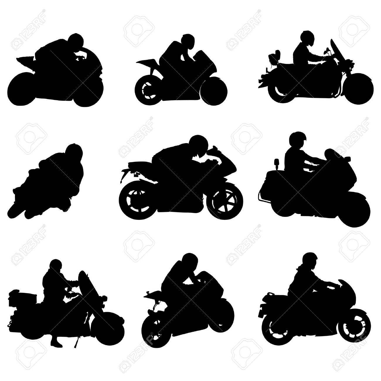 1300x1300 Motorcycle Set Stock Vector Motorcycle Silhouette Rider