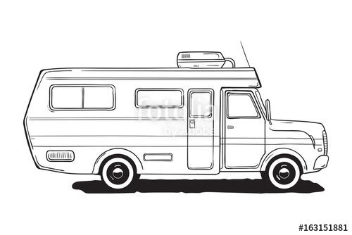 500x334 Camping Caravan. Motorhome, Amper Car. Black And White Van, Hand