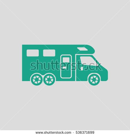 450x470 Camping Family Caravan Icon. Gray Background With Green. Vector