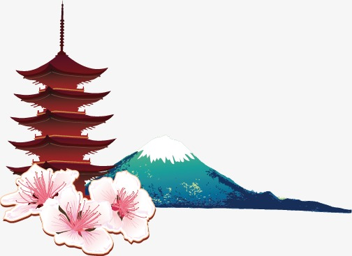 504x367 Mount Fuji And Japanese Tower, Japanese Pagoda, Mount Fuji, Vector