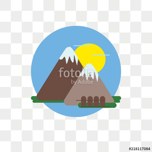 500x500 Mount Fuji Vector Icon Isolated On Transparent Background, Mount