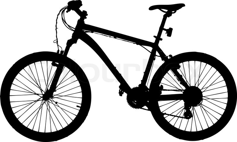 800x480 Mountain Bike Silhouette Isolated On White Background Vector Image