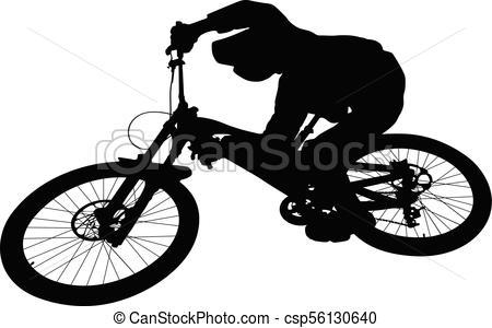 450x300 Cyclist Jump Downhill Mountain Biking Black Silhouette.