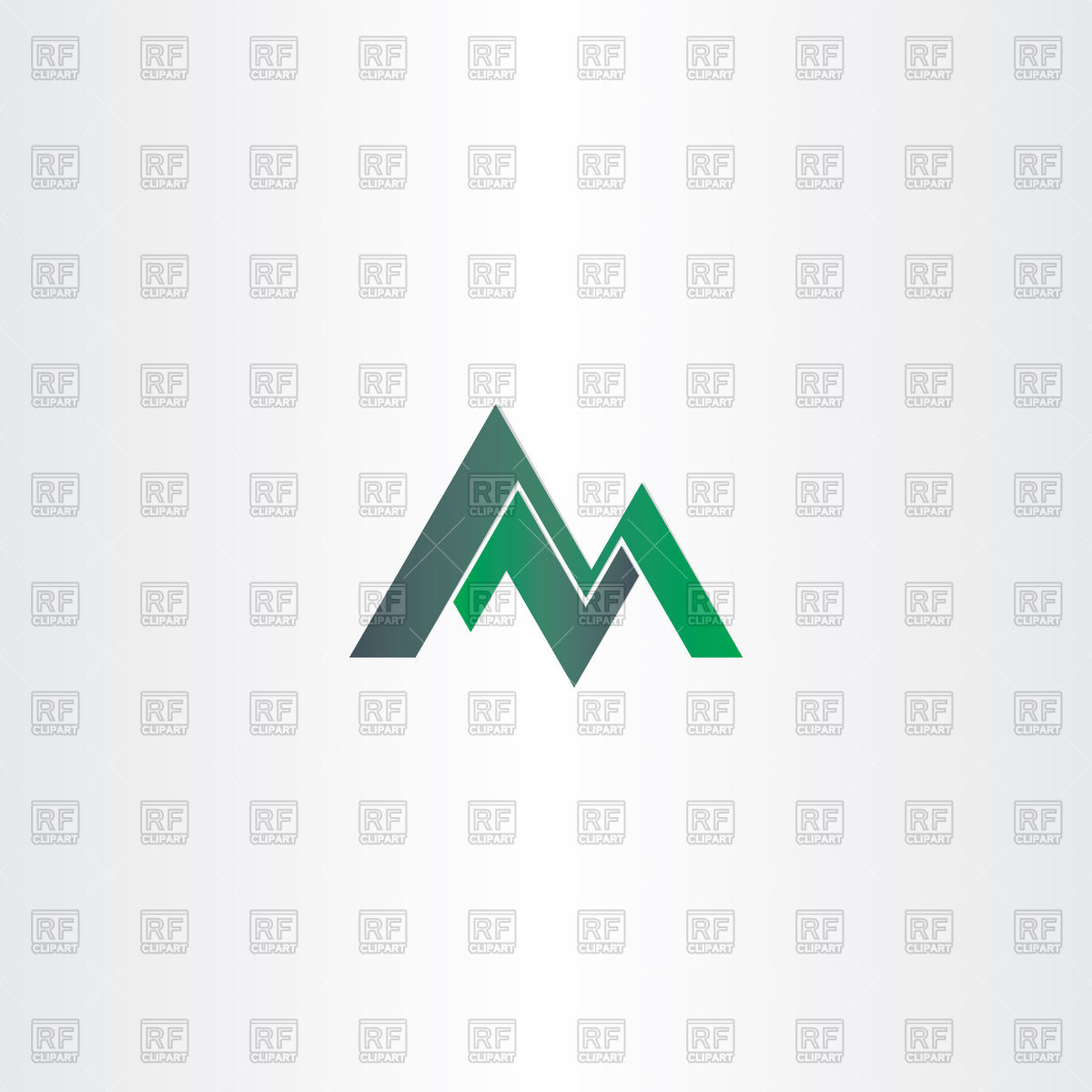 1200x1200 Letter M Green Mountain Icon Vector Image Vector Artwork Of