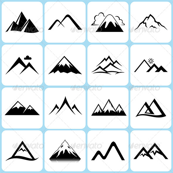 590x590 16 Mountain Icons Set By Alisher9 Graphicriver