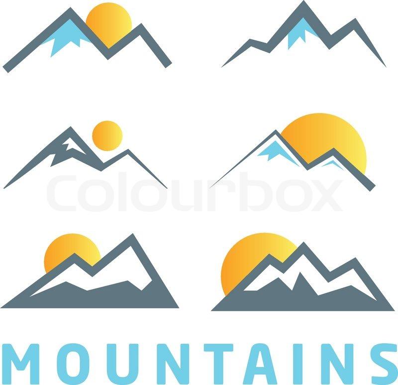 800x773 Mountain Icon Collection. Mountain Logo Design Elements. Stock
