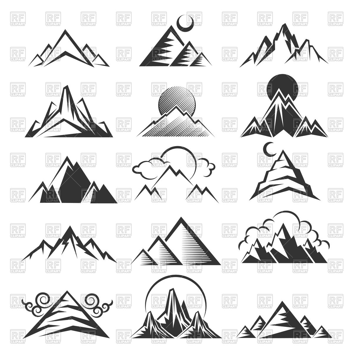 1200x1200 Mountain Icons Vector Image Vector Artwork Of Icons And Emblems