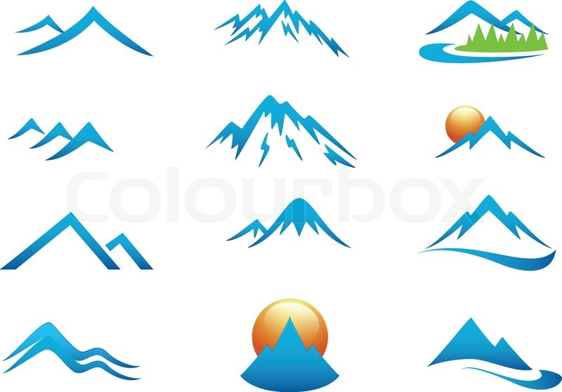 800x559 Vector Illustration Of Mountain Icon Collection Set Stock Vector
