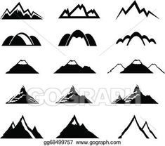 235x208 Mountain Icons Set Vector Illustration Clear Trail