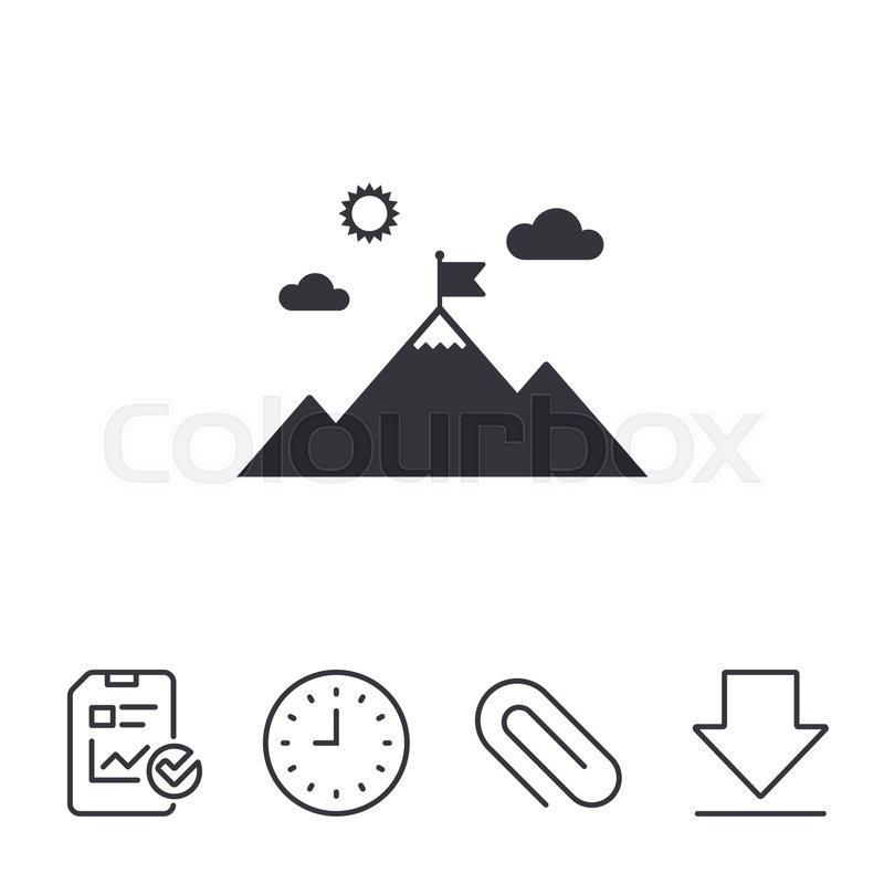 800x800 Flag On Mountain Icon. Leadership Motivation Sign. Mountaineering