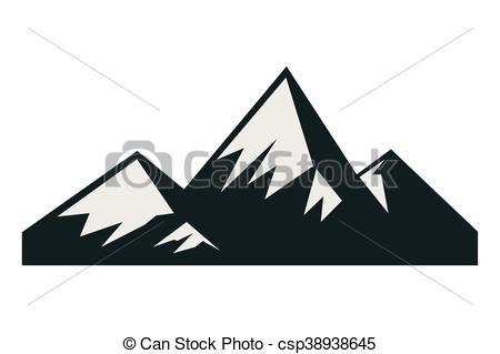450x319 Flat Design Snowy Mountains Icon Vector Illustration.