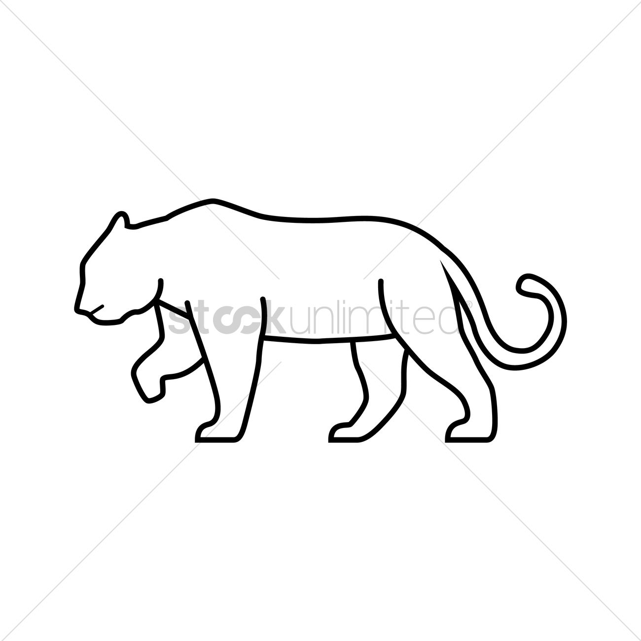1300x1300 Mountain Lion Vector Image