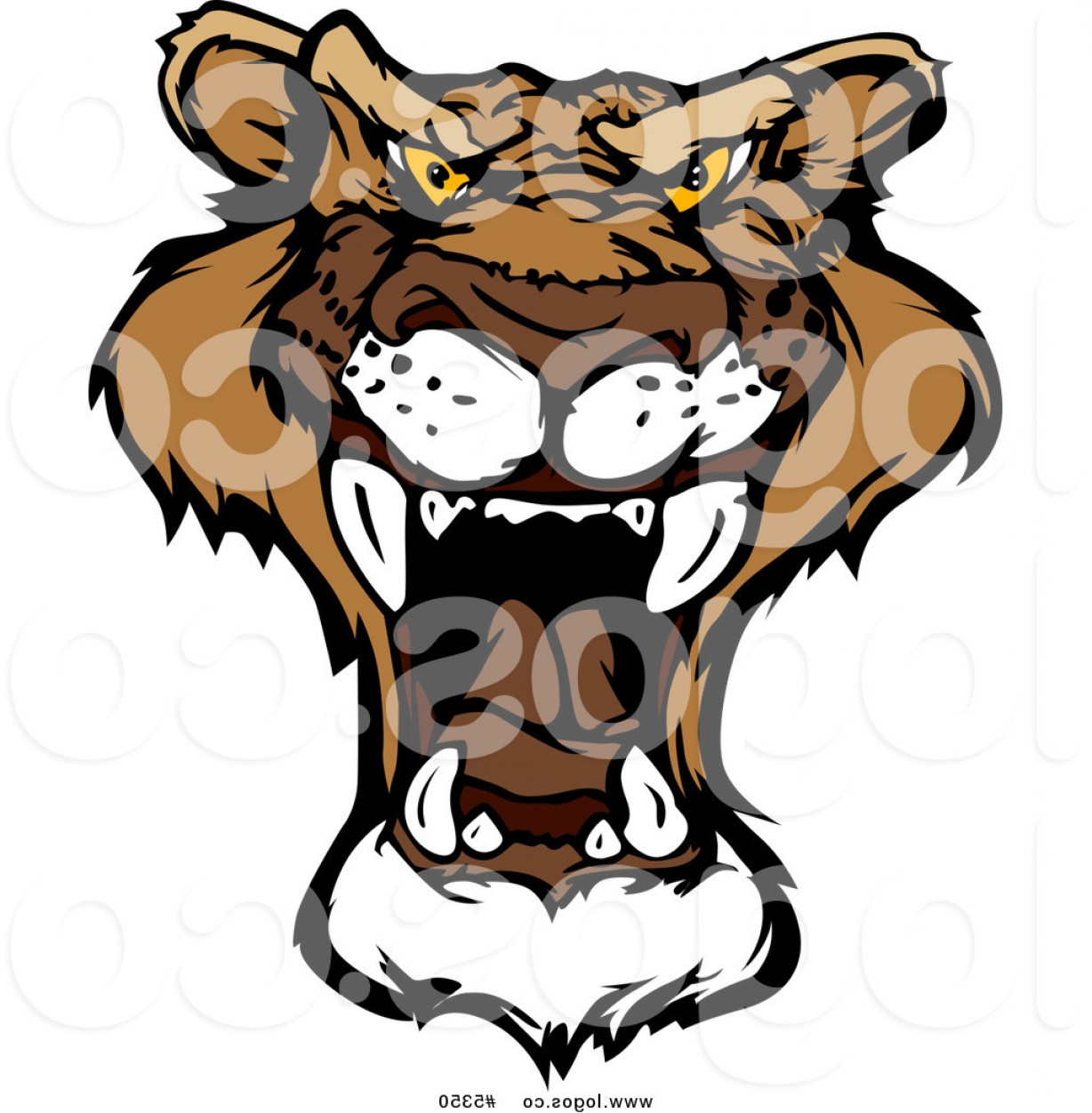 1228x1252 Royalty Free Vector Of A Logo Of A Roaring Mountain Lion By