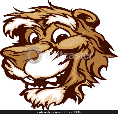 450x437 Smiling Cartoon Cougar Mountain Lion Mascot Vector Graphic Stock