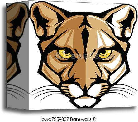 443x390 Canvas Print Of Cougar Panther Mascot Head Vector G Barewalls
