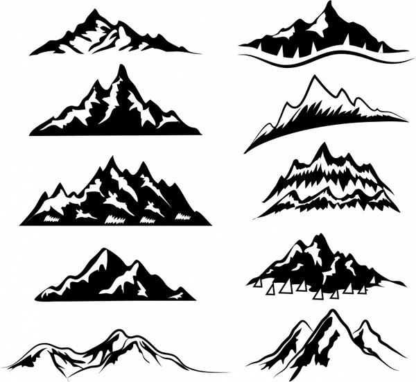 600x551 Mountain Ranges Free Vector In Adobe Illustrator Ai ( .ai