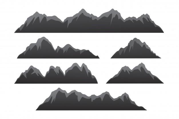 626x417 Mountain Set. Range Of Mountains Vector Illustration, Outdoor