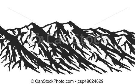 450x279 Mountain Range Isolated On White Background. Black And White Huge