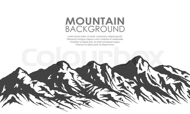 800x479 Mountain Range Silhouette Isolated On White Background. Black And