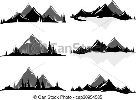 450x330 Mountain Ranges And Scenic Scenes. Various Vector Illustrations Of