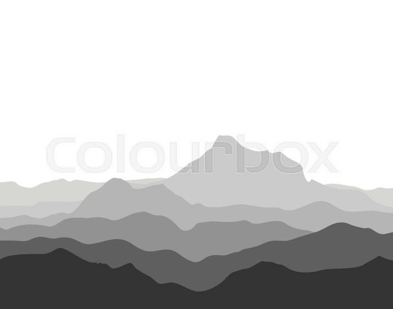 800x630 Huge Mountain Range Silhouette. Black And White Vector
