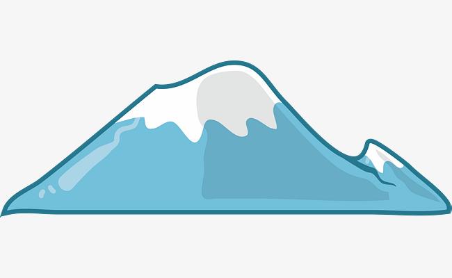 650x400 Cartoon Blue Snow Mountain Top, Mountain, Cartoon Mountain