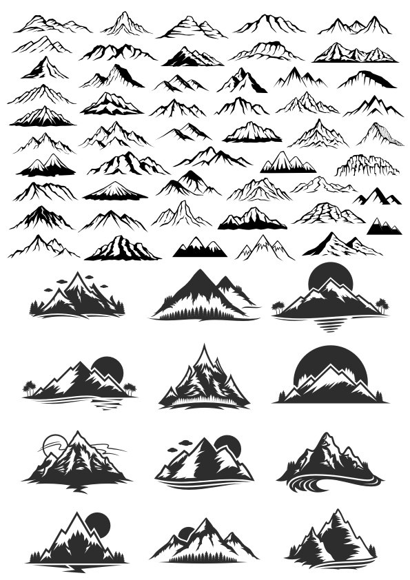 595x842 Mountain Vector Art Set Free Vector Download