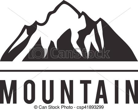 450x360 Mountain Vector Icon Badge. Mountain Silhouette Elements. Outdoor