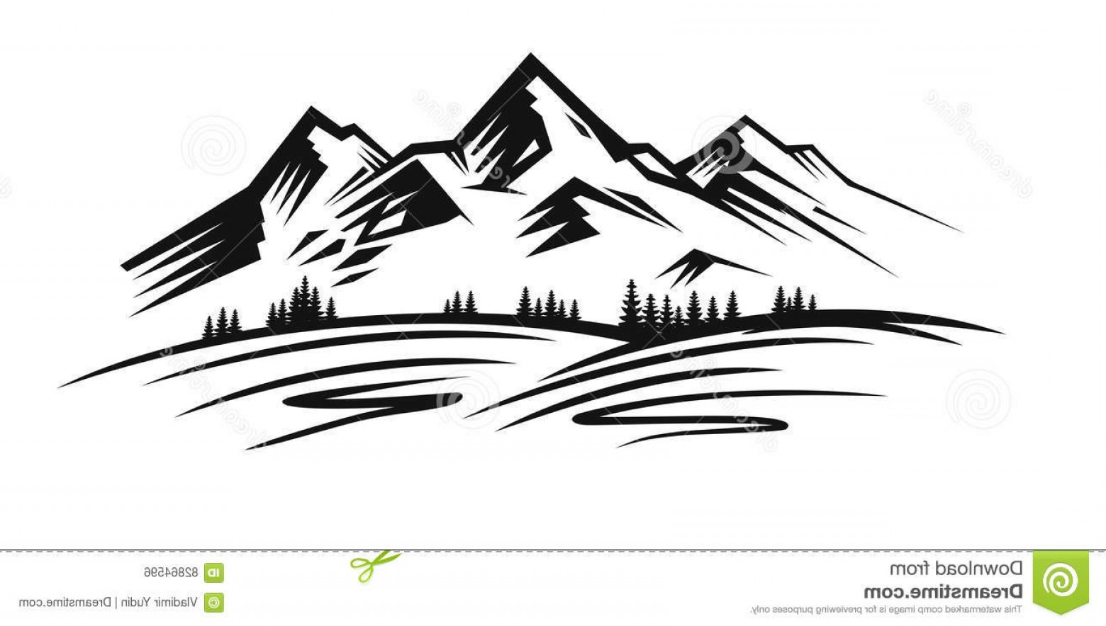 1560x884 Stock Illustration Mountain Vector Black Landscape White