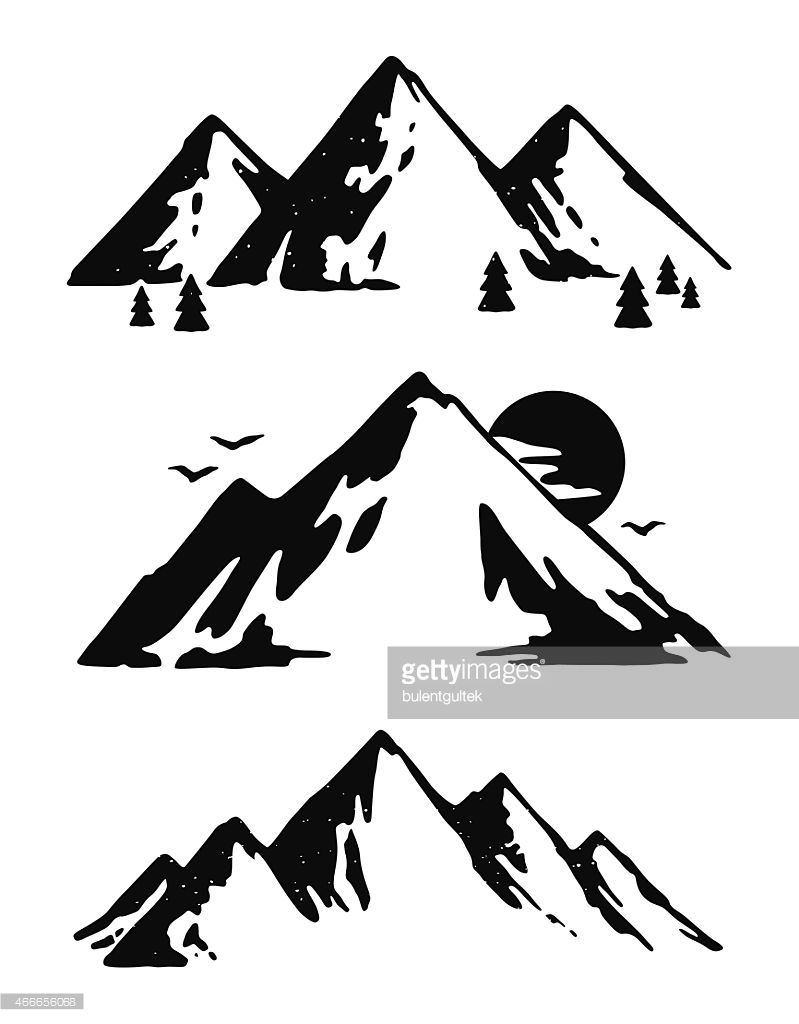 799x1024 Three Black And White Mountain Images Vector Id466656068