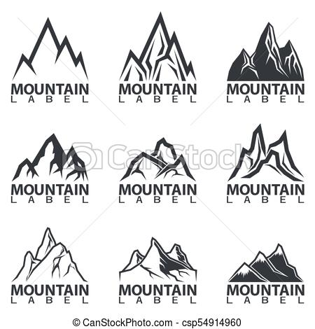450x470 Black And White Mountain Peaks Logos. Black And White Mountain