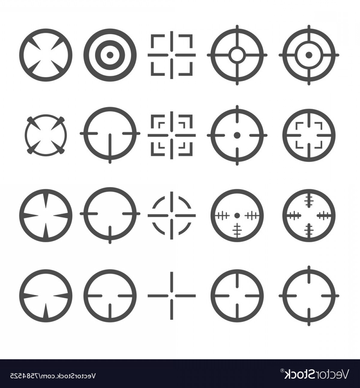 1200x1296 Crosshair Icon Set Target Mouse Cursor Pointers Vector Lazttweet