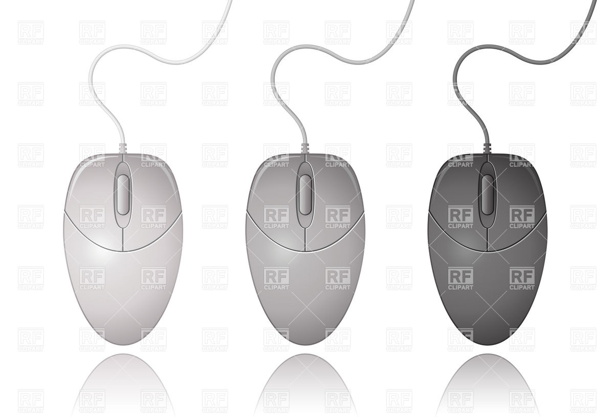 1200x815 Grey, White And Black Computer Mouse Vector Image Vector Artwork