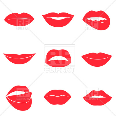 400x400 Set Of Glamour Red Lips