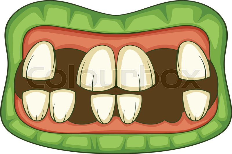 800x533 Zombie Teeth Icon. Cartoon Illustration Of Zombie Mouth Vector