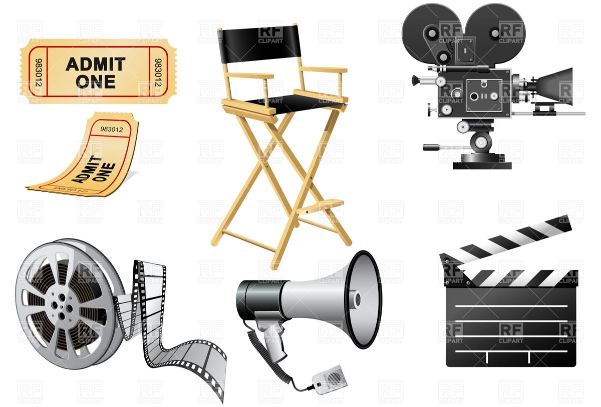 1200x814 Megaphone, Movie Camera And Film Slate Vector Image Vector