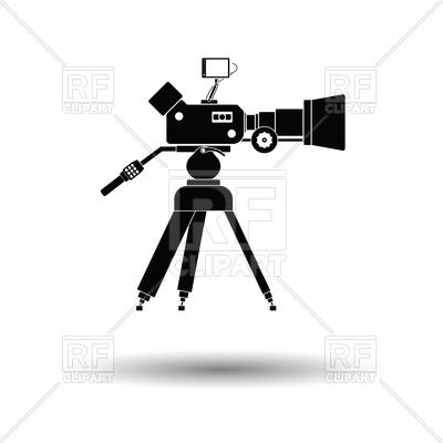 400x400 Movie Camera Icon With Shadow Design Vector Image Vector Artwork