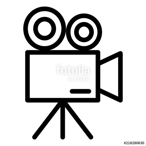 500x500 Movie Camera Line Icon. Video Camera Vector Illustration Isolated
