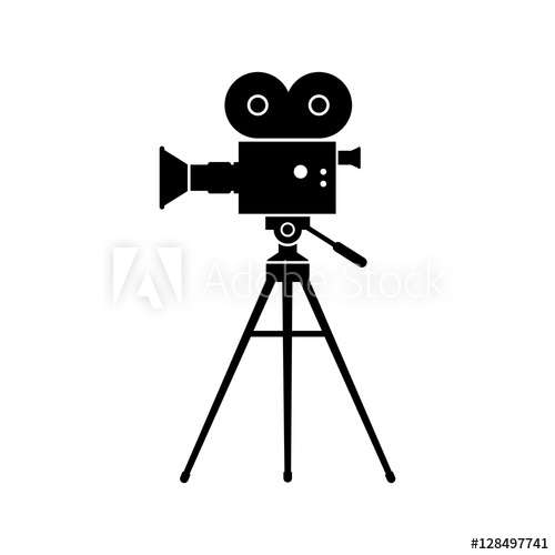 500x500 Movie Camera Vector Icon, Isolated Object On White Background