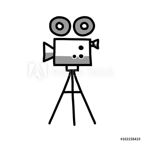 500x500 Movie Camera Vector Icon, Sketch On White Background