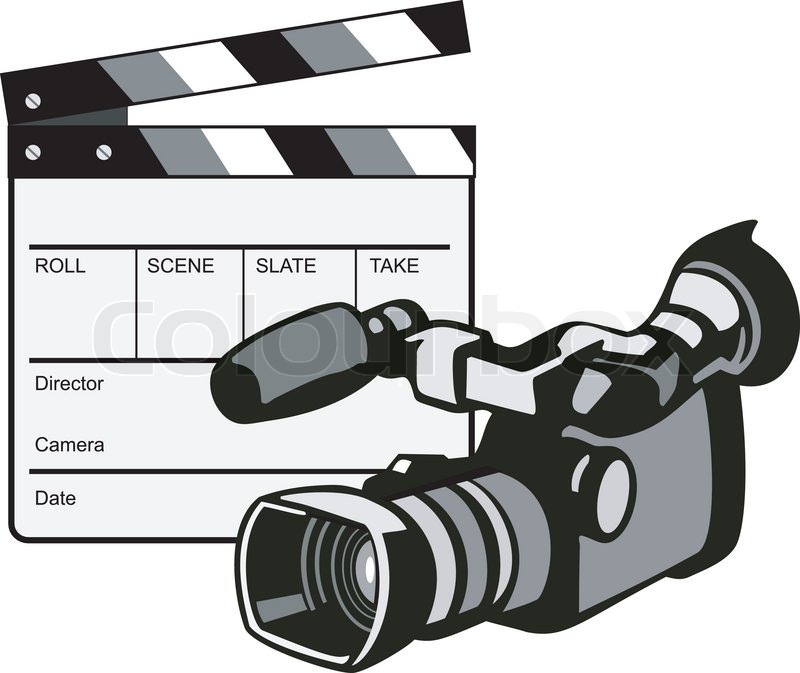 800x673 Movie Clapboard And Video Camera Stock Vector Colourbox