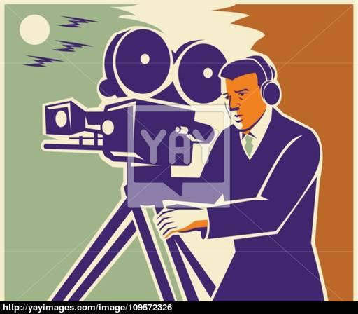 512x448 Cameraman Film Crew Vintage Video Movie Camera Vector