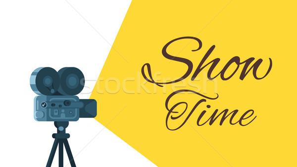 600x337 Background With Retro Movie Camera. Vector Illustration Tetiana