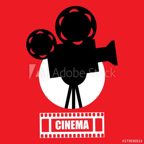 500x500 Cinema, Movie Ticket, Movie Camera.vector